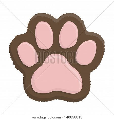 Brown kitten paw. Animal cat paw print in flat style isolated on white background.