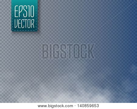 Fog or smoke isolated transparent special effect. White vector cloudiness, mist or smog background. Magic template. Vector illustration