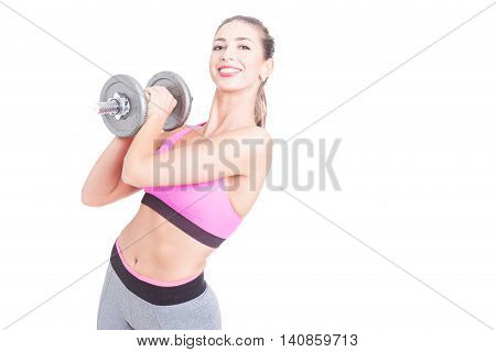 Girl Working Out Holding Heavy Weight And Smiling