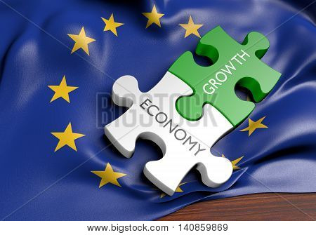 European Union economy and financial market growth concept, 3D rendering