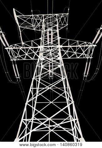 high voltage power lines and pylon on a black background