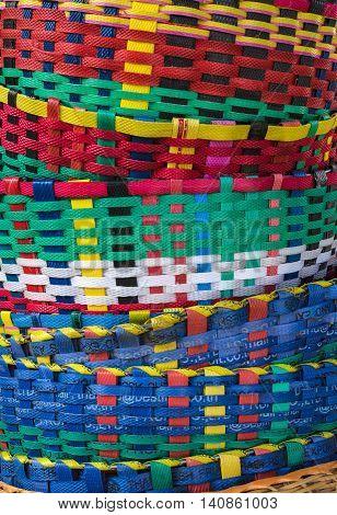 Various color plastic basket home decoration. Hand craft work