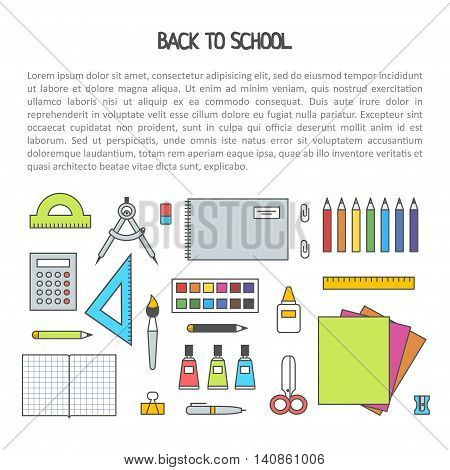 Back to school flat contour design modern vector illustration background with education icon set. School isolated supplies : book, album, pencil, paint, pen, brush, ruler, scissors, etc.