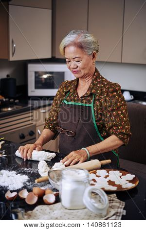 POrtrait of senior Asian woman making delicious buns