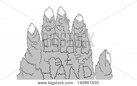 Escape at hand with mountains as fingers and letters as cracks. Hand drawn vector illustration for freedom mountain hiking wanderlust tourism