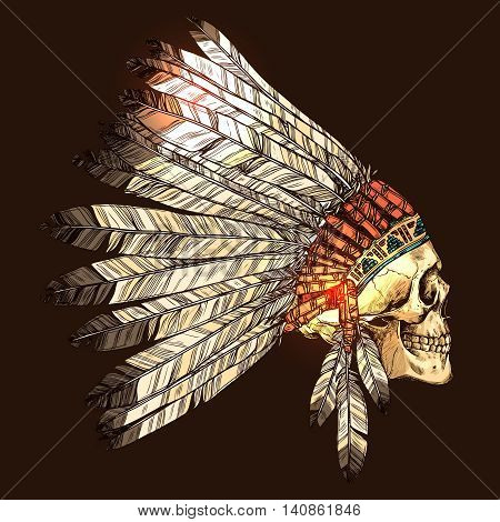 Indian Tribal Headdress With Skull, Color Hand Drawn Illustration