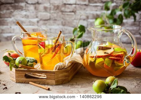 Sangria with apples,citrus and spices