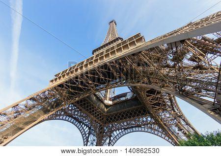 The Eiffel tower in Paris seen from below