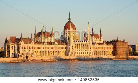 Hungarian parliament along the Donau in Budapest.