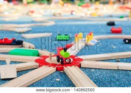 wooden trains and railway for kids play and education outdoors