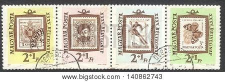 MOSCOW RUSSIA - CIRCA APRIL 2016: a post stamp printed in HUNGARY shows an old stamp the series