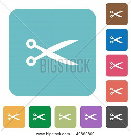 Flat cut icons on rounded square color backgrounds.