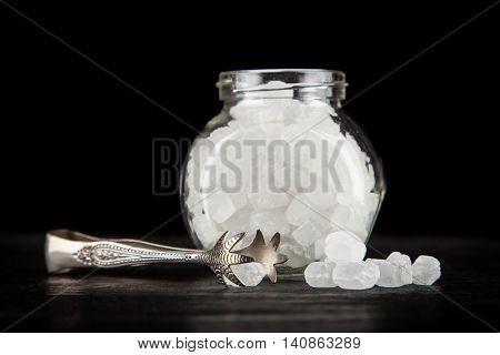 White refined sugar in a bowl