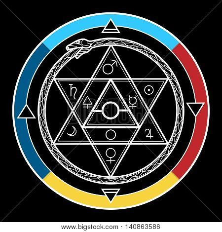 Alchemy symbol. Mystical astrological sign with star of David and uroboros vector