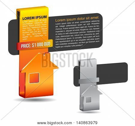 Abstract background label  with house for real estate agency offer and place for description