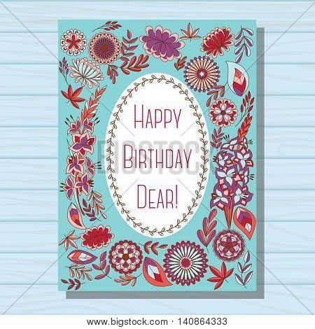 Vector blue happy birthday dear card on wooden background