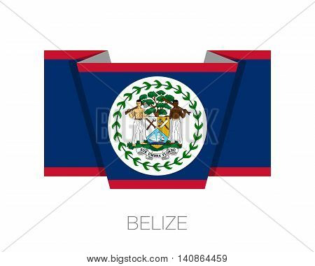 Flag Of Belize. Flat Icon Wavering Flag With Country Name