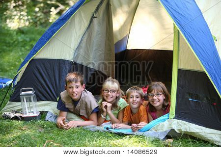 Group of kids in tent