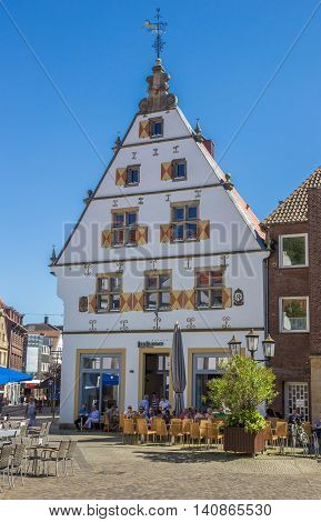 RHEINE, GERMANY - JULY 19, 2016: Ice cream cafe on the central square of Rheine, Germany