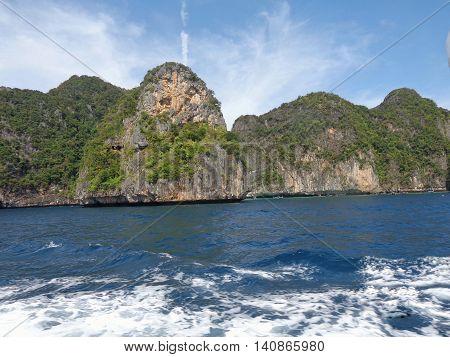 Thailand Phuket, view from the maya beach at phi phi leh island thailand