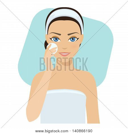Girl cleans her face with cosmetic lotion home remedies skin problems solution.Vector stock illustration.