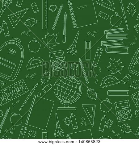 Seamless school pattern on green chalkboard. Vector stock illustration.