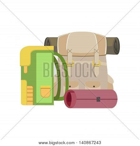 Backpacks And Rolled Camping Matrass Simple Childish Flat Colorful Illustration On White Background
