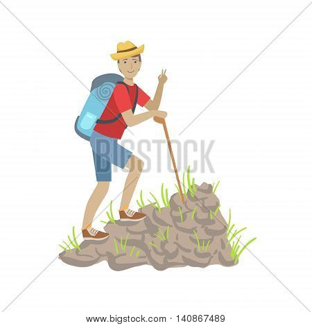 Man Climbing A Rocky Slope With Backpack Simple Childish Flat Colorful Illustration On White Background