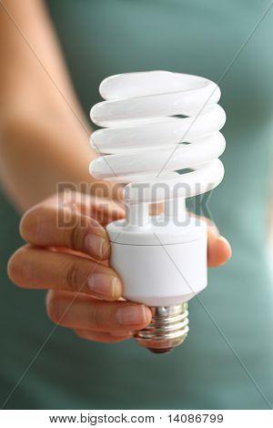 Hand holding energy efficient light bulb