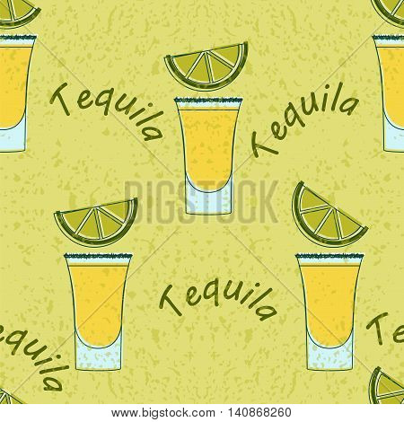 Tequila Shot Seamless Pattern