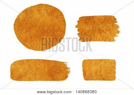 Collection Of Golden Painted Design Elements Isolated On White Background.