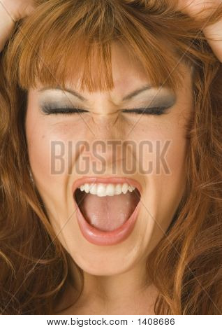 Beautiful Redheaded Woman Screaming