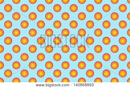 Pattern With Orange Spherical Dots. Golden Spherical Polka Dot Pattern. Orange Polka Dot On Blue Bac