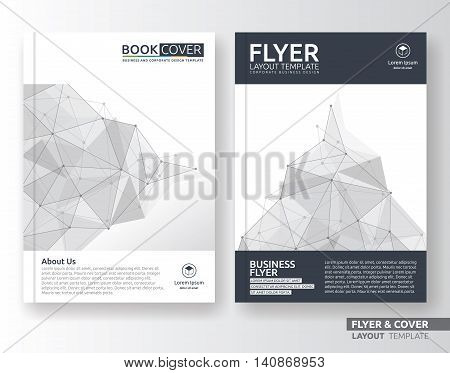 Multipurpose corporate business flyer layout design. Suitable for flyer brochure book cover and annual report. Black and white color in A4 size template background with bleeds.