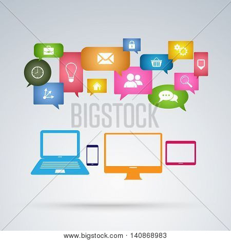 Applications for Internet communication template vector eps 10
