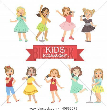 Young Girls Singing In Karaoke Bright Color Cartoon Simple Style Flat Vector Set Of Stickers Isolated On White Background