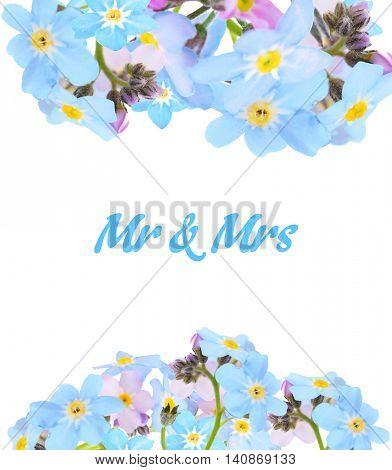 Vintage floral card. Forget-me-not flower
