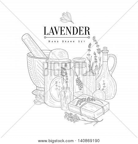 Lavender Natural Product Hand Drawn Realistic Detailed Sketch In Classy Simple Pencil Style On White Background