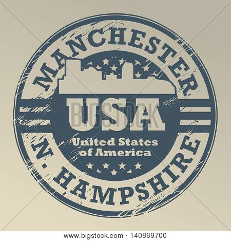 Grunge rubber stamp with name of New Hampshire, Manchester, vector illustration