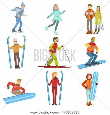 People And Winter Sports Illustrations Isolated On White Background. Simplified Cartoon Characters Set