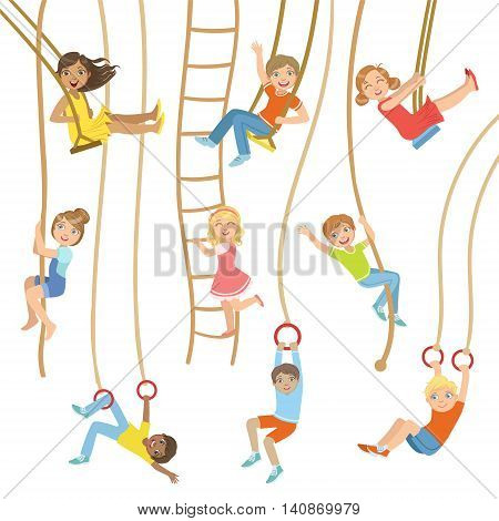 Kids On Swings And Other Rope Sports Equipment Set Of Simple Design Illustrations In Cute Fun Cartoon Style Isolated On White Background