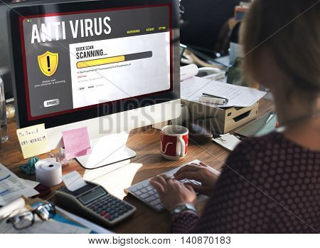 Antivirus Alert Firewall Hacker Protection Safety Concept