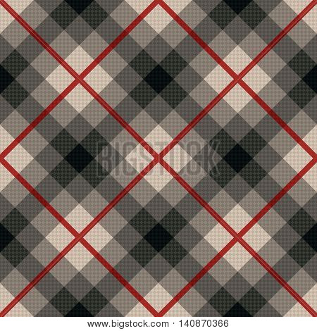 Diagonal Seamless Fabric Pattern In Gray And Red