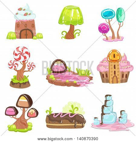 Fairy-tale Landscape Elements Made Of Sweets And Pastry. Bright Color Girly Design Landscaping Objects Set Of Flat Vector Icons.