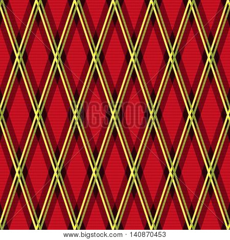 Rhombic Seamless Fabric Pattern Mainly In Red