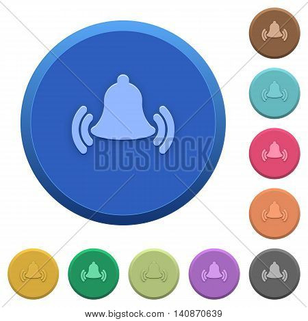 Set of round color embossed ringing bell buttons