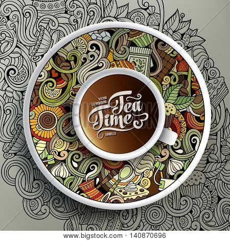 Vector illustration with a Cup of coffee and hand drawn Cafe doodles on a saucer, on paper and on the background