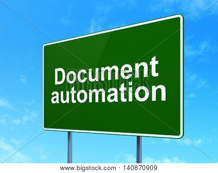 Finance concept: Document Automation on green road highway sign, clear blue sky background, 3D rendering
