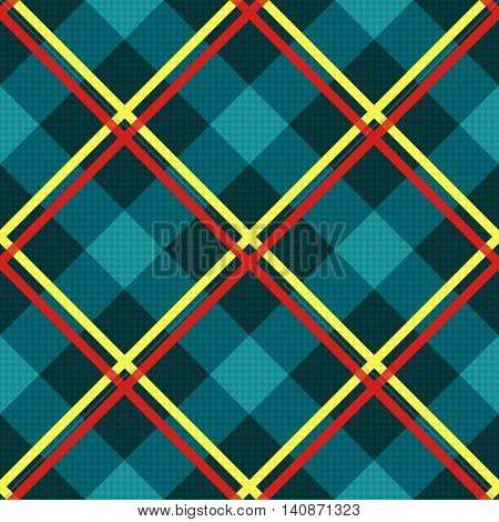 Diagonal Seamless Fabric Pattern Mainly In Turquoise