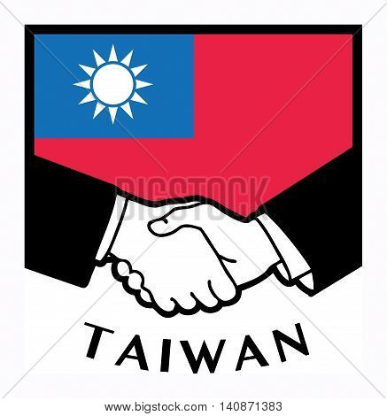 Taiwan flag and business handshake, vector illustration